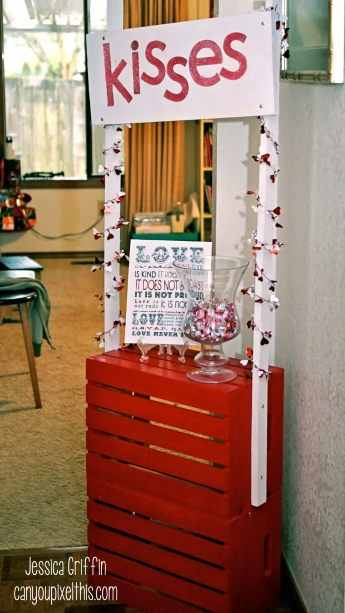 kissing booth homemade valentines day decoration subway art kisses hershey pink red white foil wood crates
