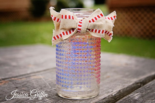 Memorial Day holiday votive jar, table decor by Jessica Griffin of canyoupixelthis.com