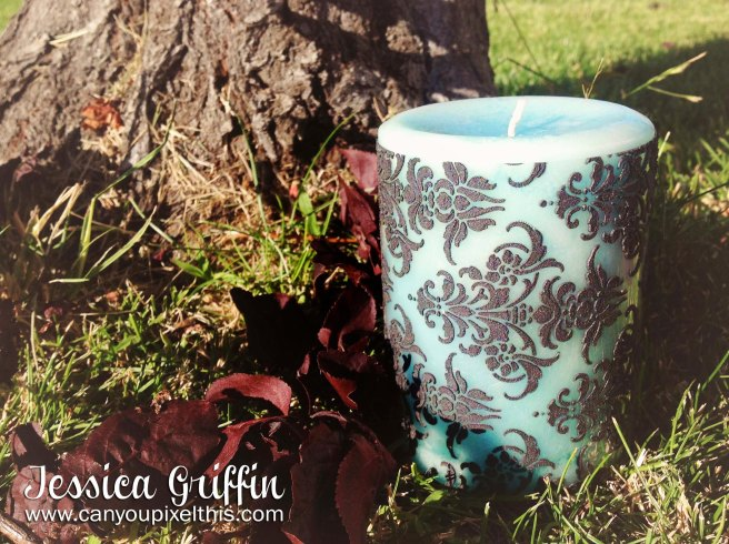how to make your own Damask Candle by jessica griffin dreamweavers stencils and embossing paste
