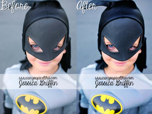 florabella colorplay photoshop actions before and after from Jessica Griffin of canyoupixelthis batman for halloween